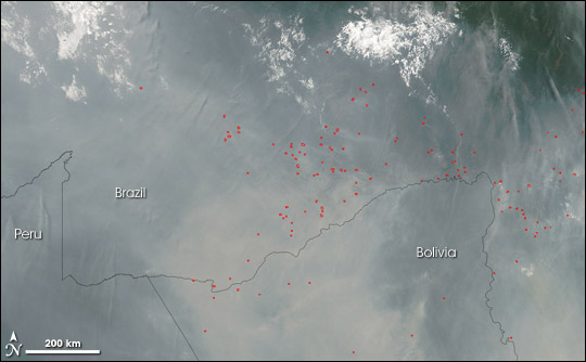 Satellite image of smoke and fire detection for the area of Acre, Brazil
