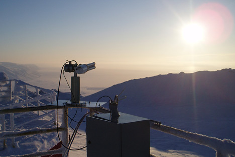 Photograph of the CIMEL sun photometer at the Polar Environment Atmospheric Research Laboratory.
