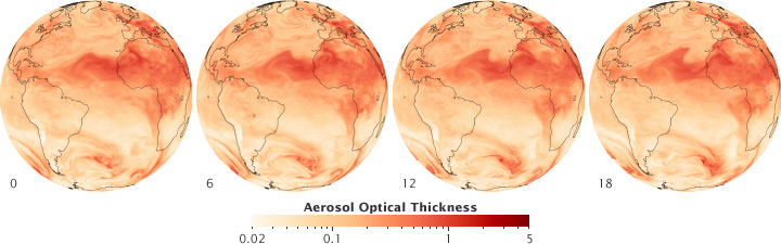 Maps of dust aerosols crossing the Atlantic.