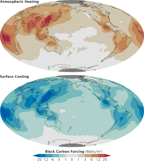 Maps of atmospheric heating and surface cooling caused by man-made black carbon aerosols.