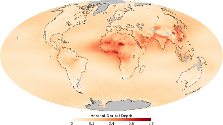 Global map of aerosol optical depth.