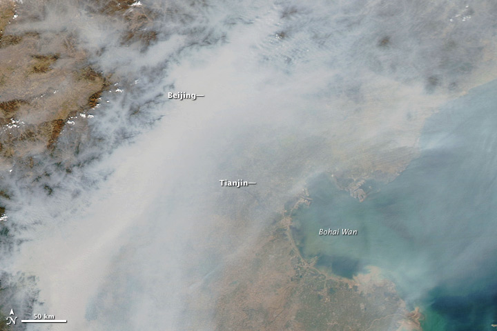 Satellite image of pollution over Beijing.