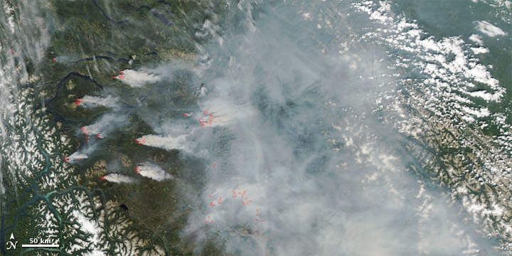 Satellite image of smoke and fires in British Columbia, Canada.