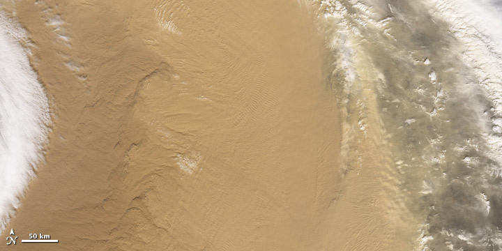 Satellite image of dust over the Gobi Desert.