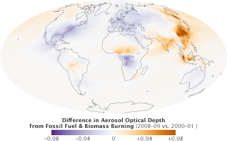 Map of difference in aerosol optical depth from 2008-09 vs. 2000-01 from the GOCART computer model.