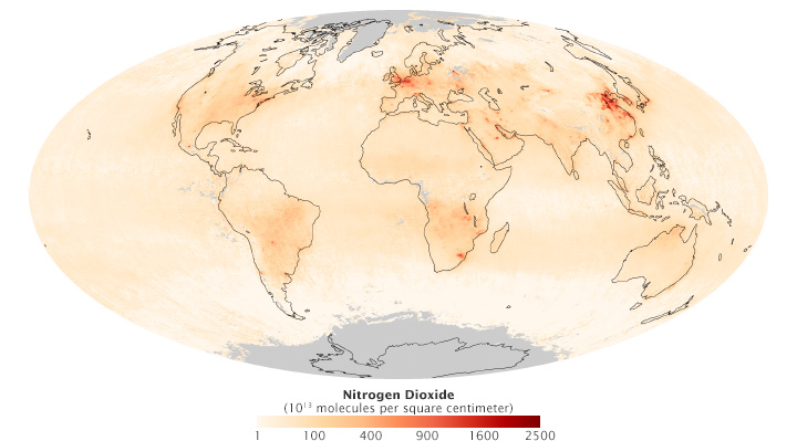 Global map of Nitrogen Dioxide from the Ozone Monitoring Instrument