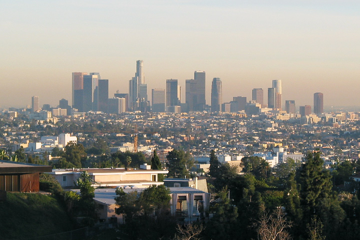 Photograph of smog and the Los Angeles Skyline.