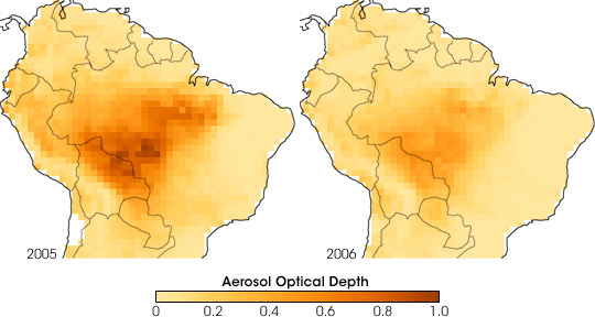Maps of aerosol optical depth over the Amazon from 2005 and 2006.