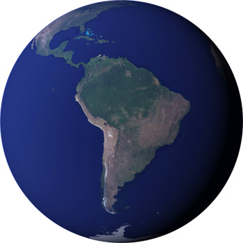 Satellite view of South America and the Amazon
