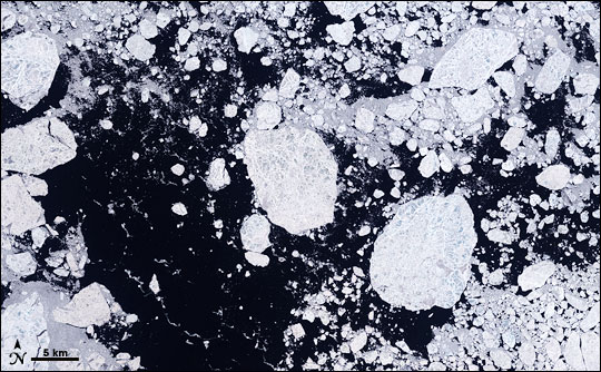 Landsat satellite image of sea ice and open water in the Arctic