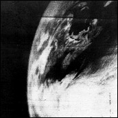 The first satellite image of the Earth, taken by TIROS-1