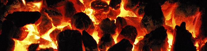 Photograph of a coal fire.