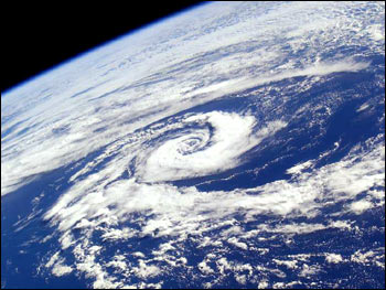 Space Shuttle Photograph of Cyclone over the Tasman Sea