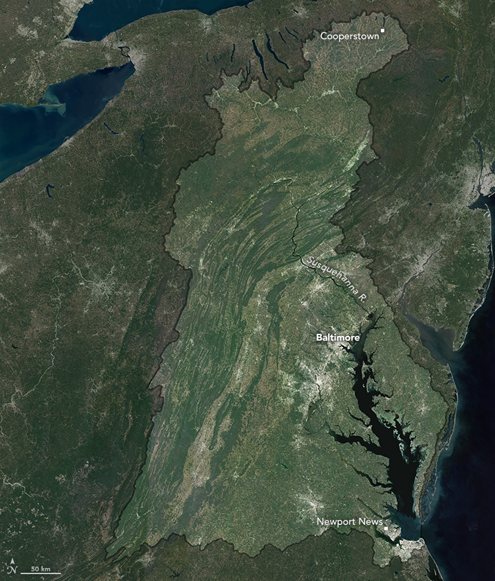 Cloudless mosaic of the Chesapeake Bay Watershed