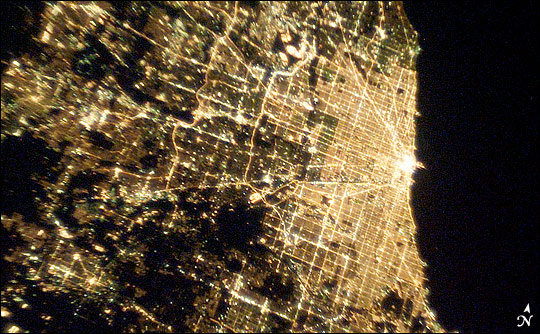 Chicago by night, from the International Space Station.