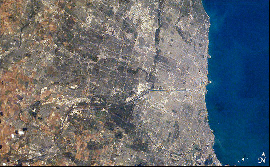 Chicago by day, from the International Space Station.