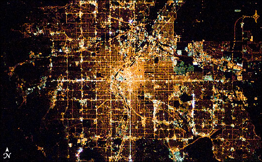 Denver at night. Photograph taken from the International Space Station.