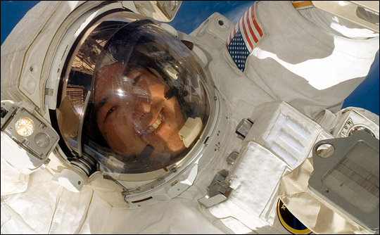 Astronaut Dan Tani on an EVA during the Expedition 16 International Space Station mission.