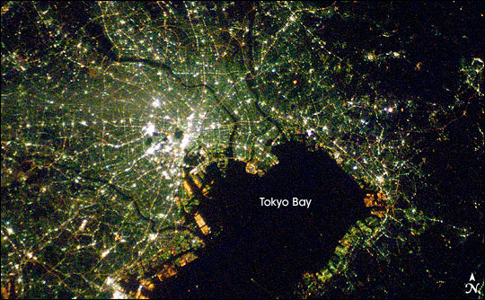 Tokyo at night. Photograph from the International Space Station.