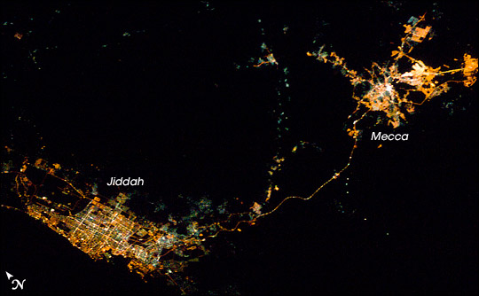 Mecca and Jidah at night. Photograph taken from the International Space Station.