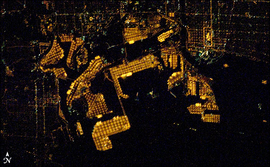 Port of Long Beach at night. Photograph from the International Space Station.