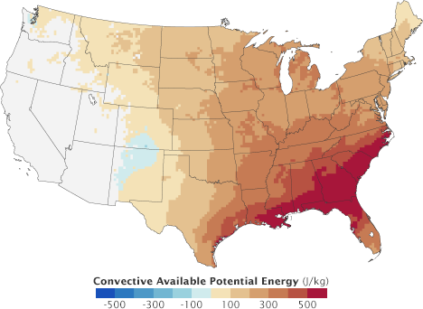 Map of modeled change in convective available potential energy in the U.S.