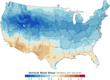 Map of modeled change in vertical wind shear over the U.S.