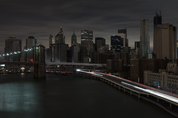 Downtown Manhattan, New York, after Hurricane Sandy knocked out power to much of the city.