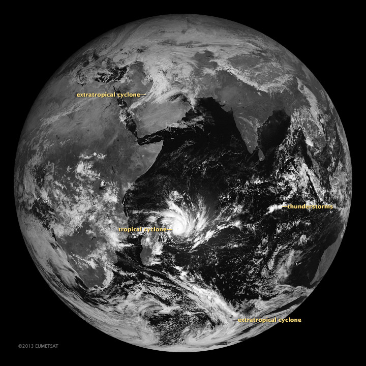 Satellite image of the 3 fundamental types of storms.