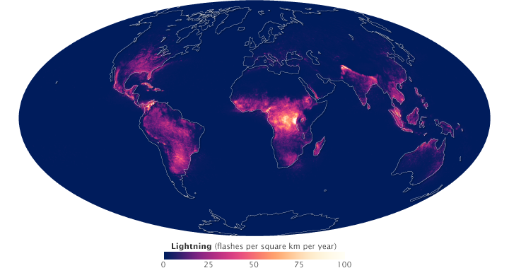 Global map of lightning frequency.