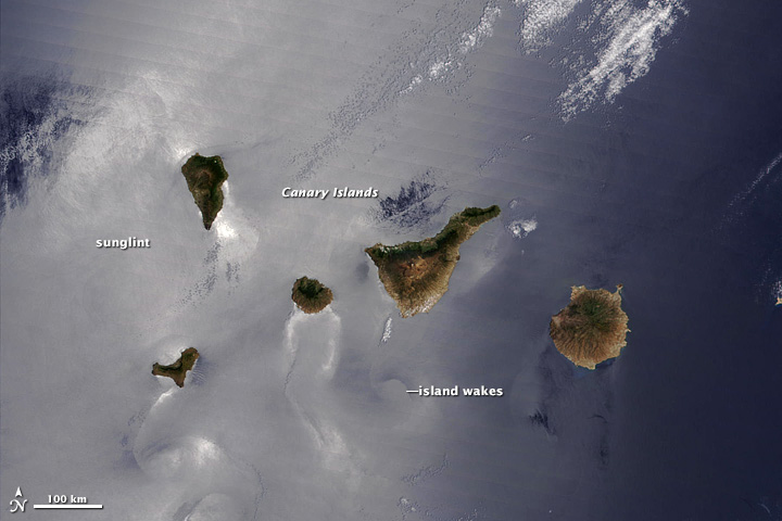 Sunglint and island wakes around the Canary Islands.