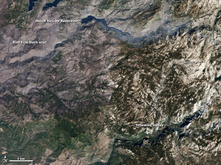 Satellite image of the Rim Fire burn scar, Yosemite National Park.