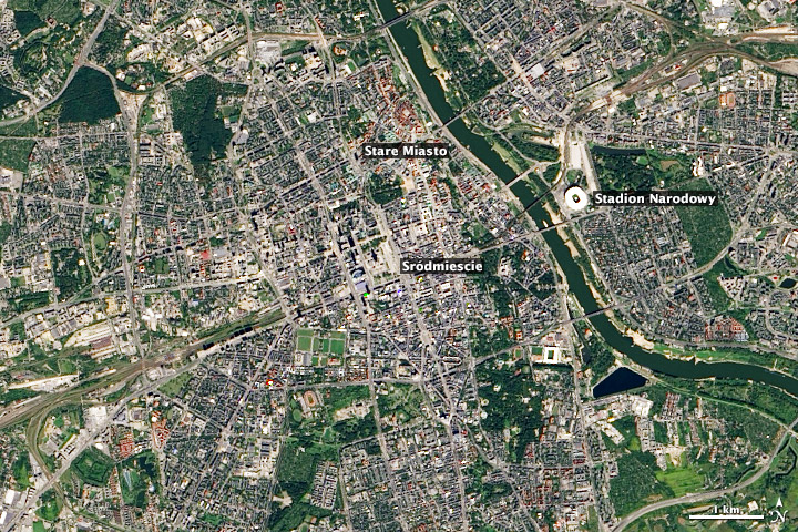Satellite image of Warsaw, Poland.