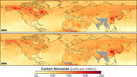 Maps of satellite data comparing carbon monoxide in 2004 and 2005