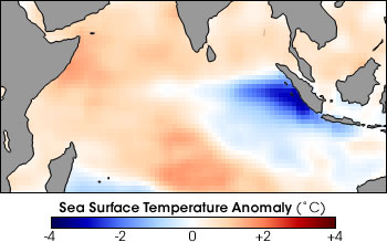 Map of Sea Surface Temperature Anomaly in the Indian Ocean