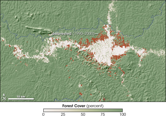 CARPE map of deforestation in the Congo.