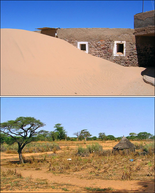 Photographs of encroaching dunes in Western Sahara and possible desertification in a village in Senegal.