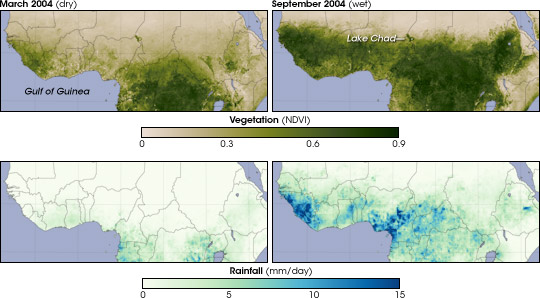 Maps comparing vegetation and rainfall during the dry and wet season of 2004