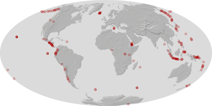Global map of volcanoes monitored by the Autonomous Science Experiment.