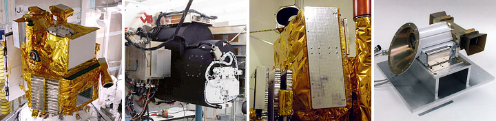 Photographs of the EO-1 satellite, ALI, Hyperion, and pulsed plasma thruster.