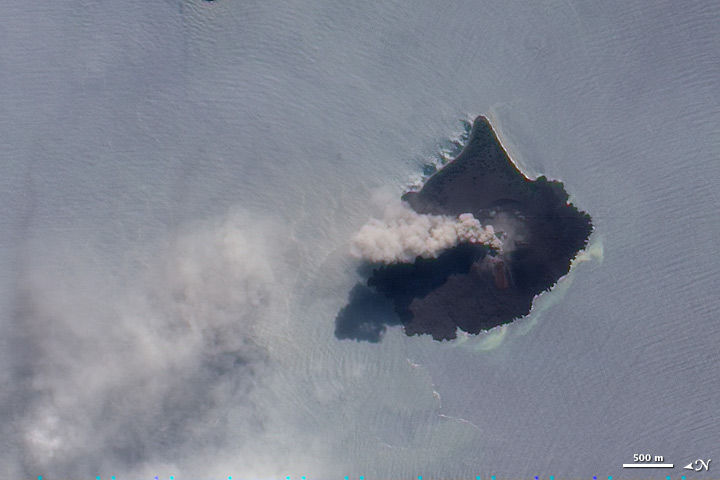 Satellite image of ash plume from Krakatoa.