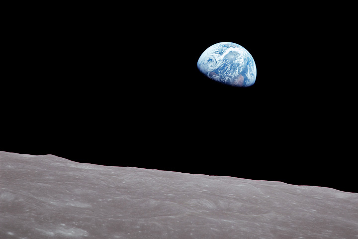 Photograph of Earth and the moon, from Apollo 8 on December 26, 1968.
