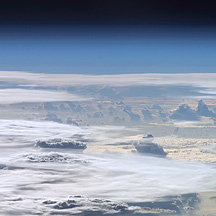 Photograph of clouds ascending into the stratosphere taken from the International Space Station.