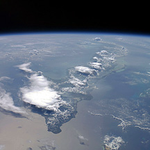 Photograph of Cuba and the Earth's thin atmosphere taken from the International Space Station.
