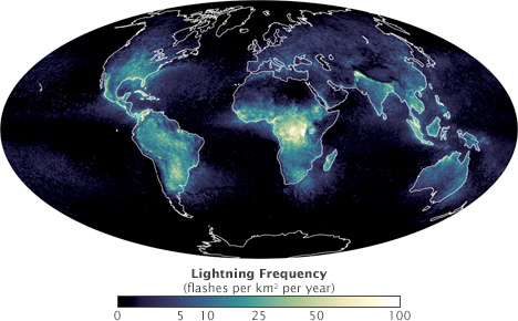 Map of global lightning frequency.
