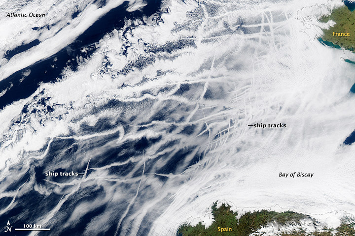 Satellite image of ship tracks in the clouds of the marine layer off the coast of the Iberian Peninsula.