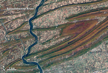 Satellite image of fall colors in the Susquehanna River Valley, Pennsylvania.