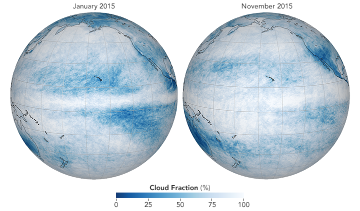 Maps showing cloud cover before and during an El Niño.
