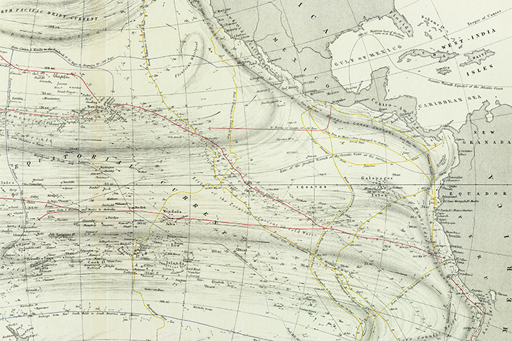 A historic map showing temperatures, currents, and known ship routes in 1856.