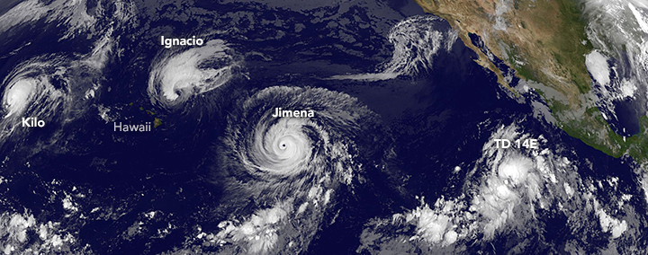 GOES-West satellite image of tropical cyclones.